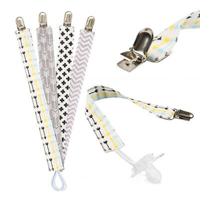 LOTS 4PCS Baby Unisex Boys Girls Dummy Pacifier Soother Nipple Strap Clip Holder