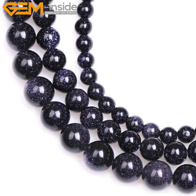 """New Round Blue Sandstone Stone Beads For Jewelry Making Strand 15"""" Wholesale"""