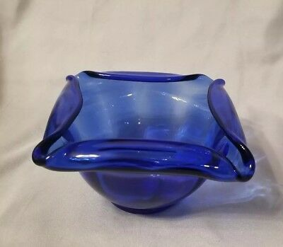 Vintage Fenton Cobalt Blue Optic Rib? Glass Ashtray Art Deco Rose Or Candy Bowl