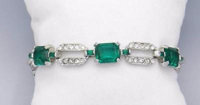 ART DECO Signed MAZER Green Emerald & Clear Rhinestone Paste BRACELET
