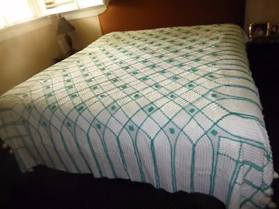 Vintage Jade Green & White Cotton Chenille Bedspread With Pom Pom Fringe