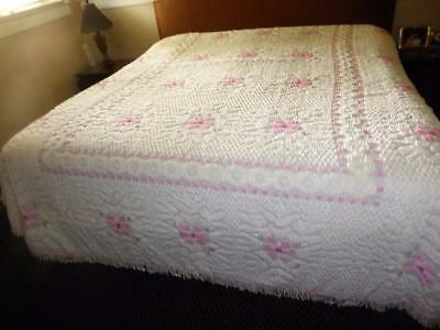 Vintage  White Cotton Chenille Bedspread With Pink Flowers  & Fringe Euc