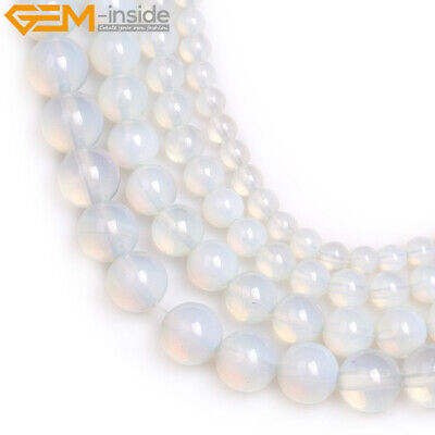 """Round White Opalite Stone Loose DIY Beads For Jewelry Making Strand 15"""" In Lots"""