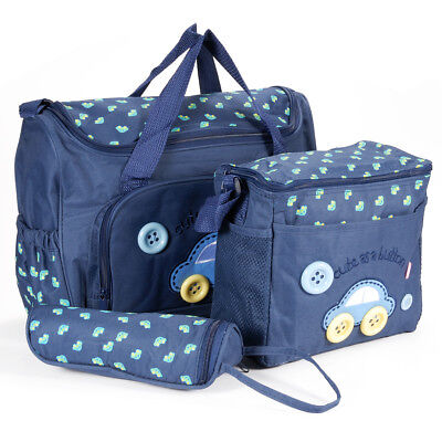 4pcs Blue Flowers Mummy Bags Baby nappy changing bag diaper bags large