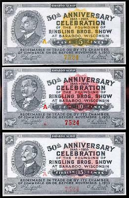 HGR 1933 5c,10c,15c ((Ringling Bros - ALL Serial#7524)) Appears GEM UNCIRCULATED