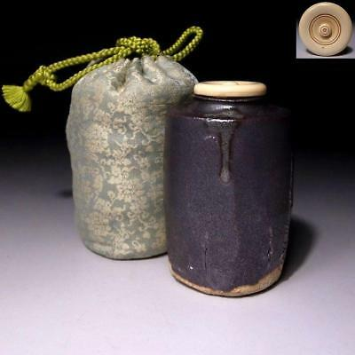 VM9: Vintage Japanese Pottery Tea Caddy with High-class lid, Tanba ware