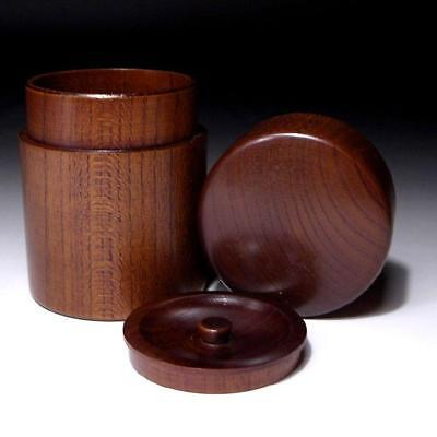 VC3: Japanese Zelcova Wood, 'Keyaki', Double-capped Tea Caddy
