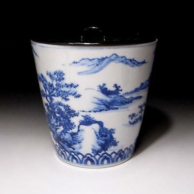VB6: Japanese Tea Ceremony Mizusashi, Water Container, Kyo ware with wooden lid
