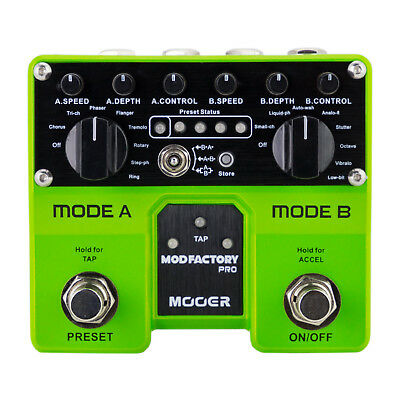 New Mooer Mod Factory Pro Modulation Twin Dual Electric Guitar Effects Pedal