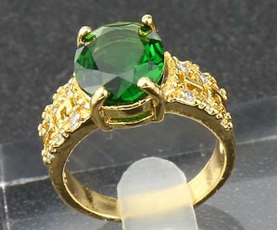 Solid 14K  Yellow  Gold Antique 2.65 ct  Natural Emerald  Ladies Rings SZ7.5