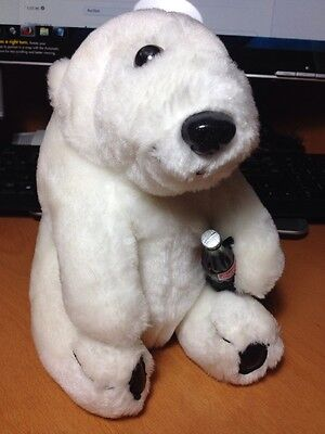 "Coca Cola Brand 8 1/2 "" White Polar Bear Cub Plush with Coke Bottle 1993 Edition"