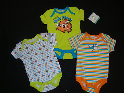 """Disney  Finding Nemo  Body Suits   Nwts  """"i'm The Big Fish"""" Set Of 3"""