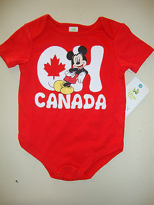 """DISNEY MICKEY MOUSE CANADA DAY  short sleeve BODY SUIT  NWTS  """"OH CANADA"""""""