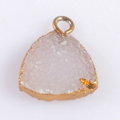 12mm Triangle Natural Agate Druzy Geode Charm One Bail Gold Plated T047444