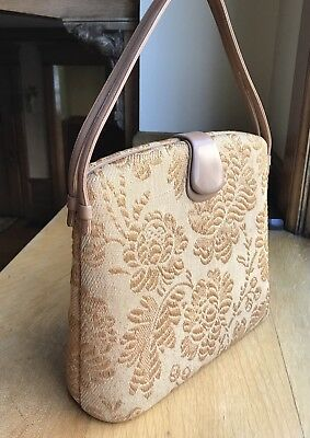 Authentic Vintage Nettie Rosenstein Tan Embroidered Fabric Bag Handbag, RARE!