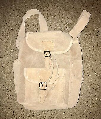Vtg 80s Suede Leather Mini Backpack Quality 70s Hippie Festival Style Tan Bag