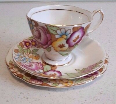 """Royal Albert """"bouquet"""" Trio. Cup, Saucer, Plate Perfect Condition"""