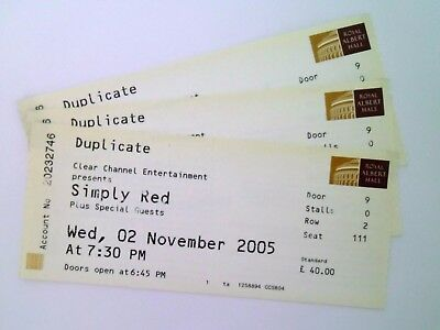 RARE Simply Red Memorabilia Unused Tickets Stubs Royal Albert Hall 02/11/05