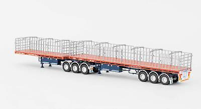 New Drake Maxitrans Freighter B Double Flat Top Trailers Orange 1:50 ZT09131