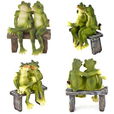 2Frogs on Bench Garden Decoration Collectible Figurine Statue Model Collectibles