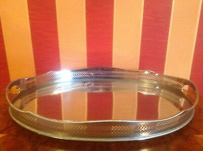 """Large good quality silver plated oval CHASED GALLERY TRAY with handles. 18"""""""