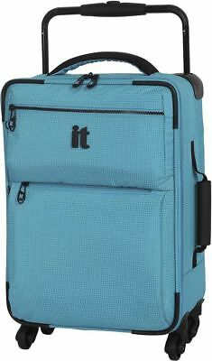 IT Luggage World's Lightest 4 wheel Turquoise Check Small Suitcase