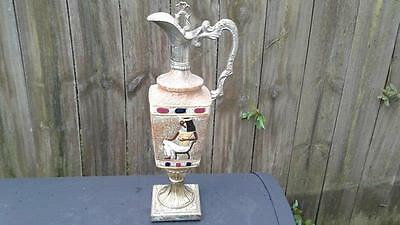 "Vintage Hand Painted  Decanter With Cork..""italy"".. 13 1/2"" Tall"
