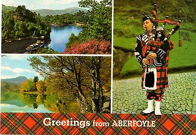 Greetings from Aberfoyle - Scottish Pipers - Postcard