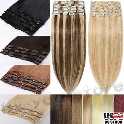 7pcs 100% Real Human Hair Clip In Remy Human Hair Extensions Highlight FULL HEAD