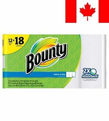 Bounty Select-A-Size Paper Towels, White, 12 Giant Rolls Equal To 18 Regular ...