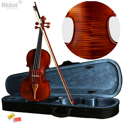 Violin 4/4 Full Size Fiddle Antique Natural Acoustic Solid Wood With Case Rosin