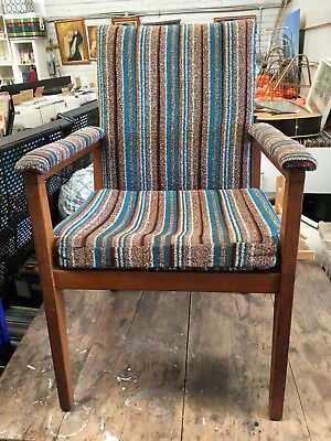 Nice timber and fabric chair MCM vintage retro needs some restoration