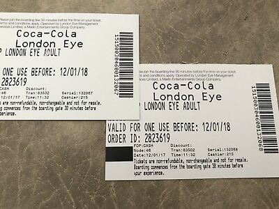 London Eye Tickets - one pair, more available, bargain price