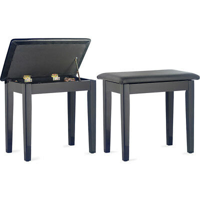 Stagg Piano Bench with Storage Compartment - Black Gloss