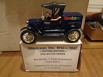 Steelcase 1912 Ford Model T Runabout Bank 1987 ERTL Second Edition Stock#9265UO