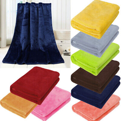 Baby Kid Soft Warm Plain Fleece Blanket Home Sofa Bedroom Throws Rug 50*70cm
