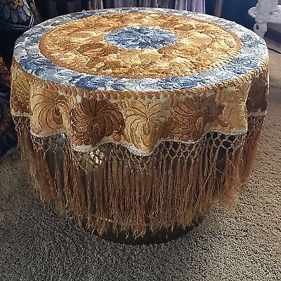 Yugoslavia Embroidered Silk Fringed Spread Lamp Table Cover GWTW GOLD