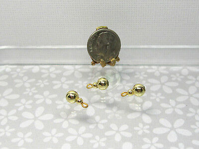 Dollhouse Miniature 6mm Wide Gold Metallic Christmas Ornaments Set of 3