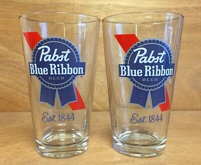 Pabst Blue Ribbon PBR Beer 16 oz Pint Glass ~ Set Of Two (2) Glasses - NEW