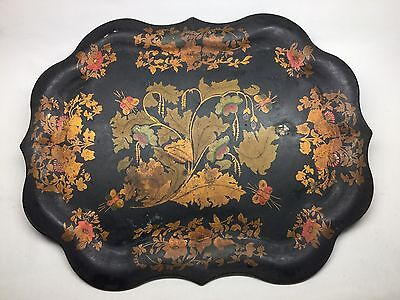 Antique Hand Painted Toleware Tray Florals And Bees Original Paint