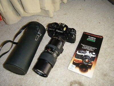 Beautiful Canon A-1 35mm Camera / Vivitar 90-230mm Auto Zoom Lens / UNTESTED