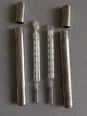 2 Vintage Thermometers (not Working) In Cases