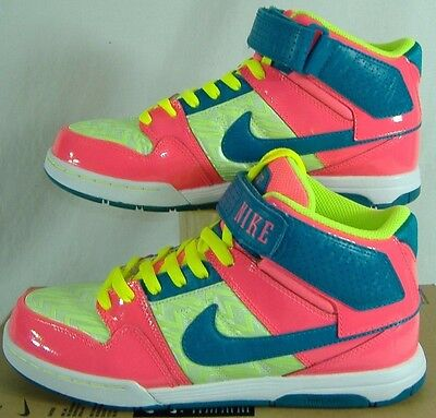 Womens 9.5 NIKE Air Mogan Mid 2 Lime Hot Pink Blue Leather Shoes $80 407479-333