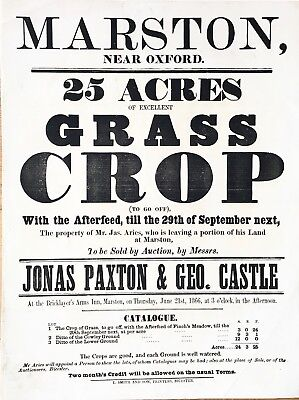 Orig 1866 Marston Oxford Bricklayers Arms Auction Poster Grass Crop, breweriana,