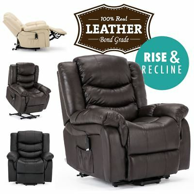 Seattle Electric Rise Real Leather Recliner Armchair Sofa Home Lounge Chair