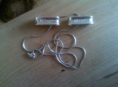 2 x TIFFANY T & CO 925 SILVER BANDS/LINKS ON SILVER CHAIN
