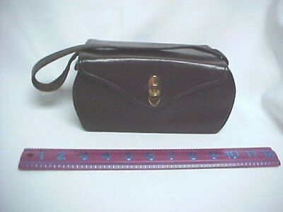 VTG 40s 50s   Box PURSE Chocolate BROWN  Hand Bag    Estate find