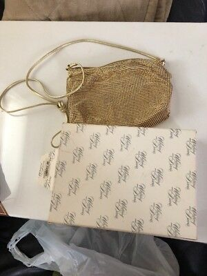 Vintage Whiting Davis Gold Mesh  Purse Vanity Bag  Very good With Original Box