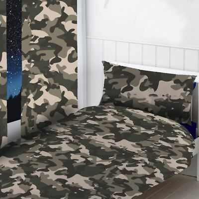 "Grey Camouflage Bedroom - Curtains 54"" & 72"", Duvet Cover Set Single & Double"
