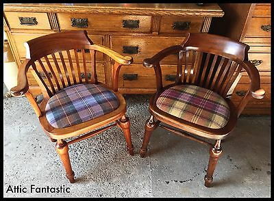 SUPERB PAIR of ANTIQUE SOLID TEAK FRAMED ARM CHAIRS STAMPED 1933 GRV & CROWN VGC